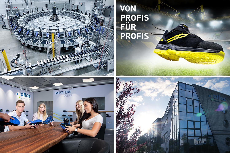 Collage mit vier Bildern von: Maschinen, Schuhen, Meetings und dem Büro